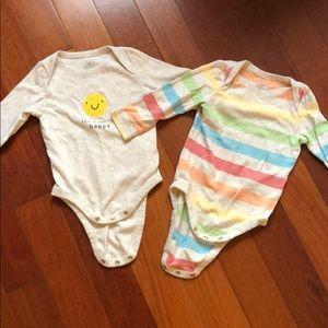 Two long sleeve onesies